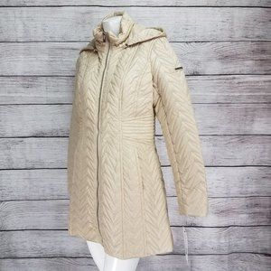 NWT Via Spiga L Hooded Quilted Jacket in Stone